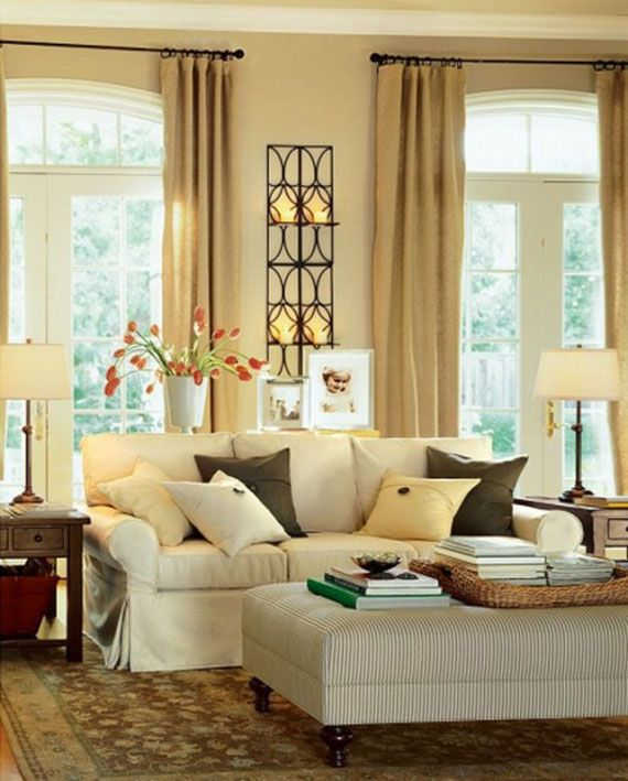 Elegant Vintage Interior Decorating Idea For Home With Brown Curtains White Sofa Chocolate Cream Cushions And Red Flowers In The Pot