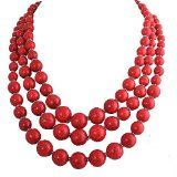 Jane Stone Red Bubble Necklace 3-Layer Illusion Necklace Wedding Bridal Jewelry(Fn0659-Red) / http://www.realweddingday.com/jane-stone-red-bubble-necklace-3-layer-illusion-necklace-wedding-bridal-jewelryfn0659-red