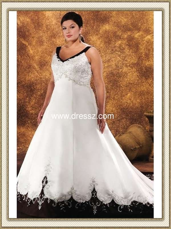 Custom Made Top Quality V-neck Sleeveless Gothic Black and White Plus Size Wedding Dresses Bride Wedding Gown With Embroidery(China (Mainland))
