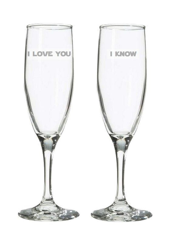 I love you I know Champagne Flutes – Geek Wedding Toasting Glasses