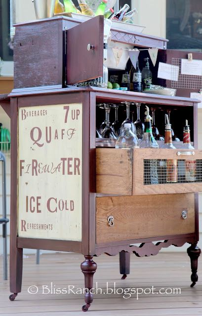 Old Dresser Turned Portable Bar!  Found at http://blissranch.blogspot.com/2012/07/old-dresser-turned-portable-bar.html