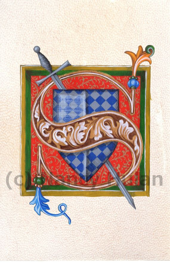 Medieval Illuminated Letter S This is an archival 4 x 6 print of my original artwork, painted in acrylics on goatskin parchment. It shows a