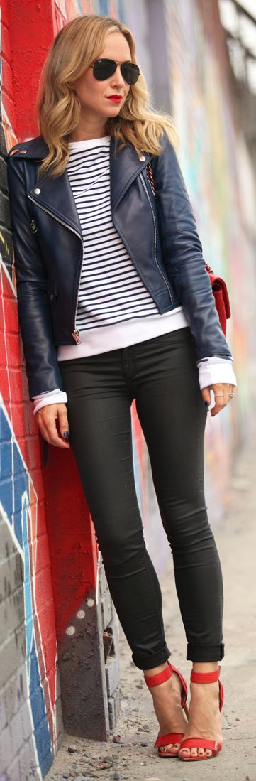 Pop or red. This has it all, stripes, cool motorcycle jacket in unexpected blue and the red shoe.