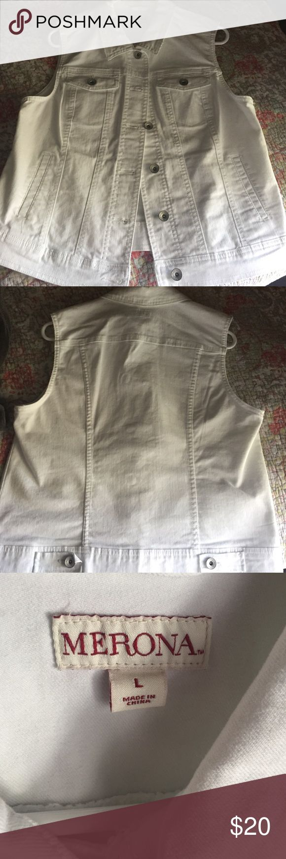 White jean vest Brand new, never worn. But tags were pulled off. True to size. Merona Jackets & Coats Vests
