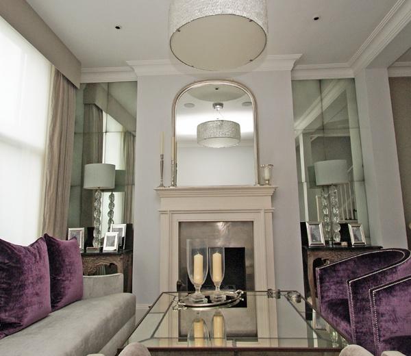Private residence Kensington. Medium antiqued 8 panel mirrored alcoves.