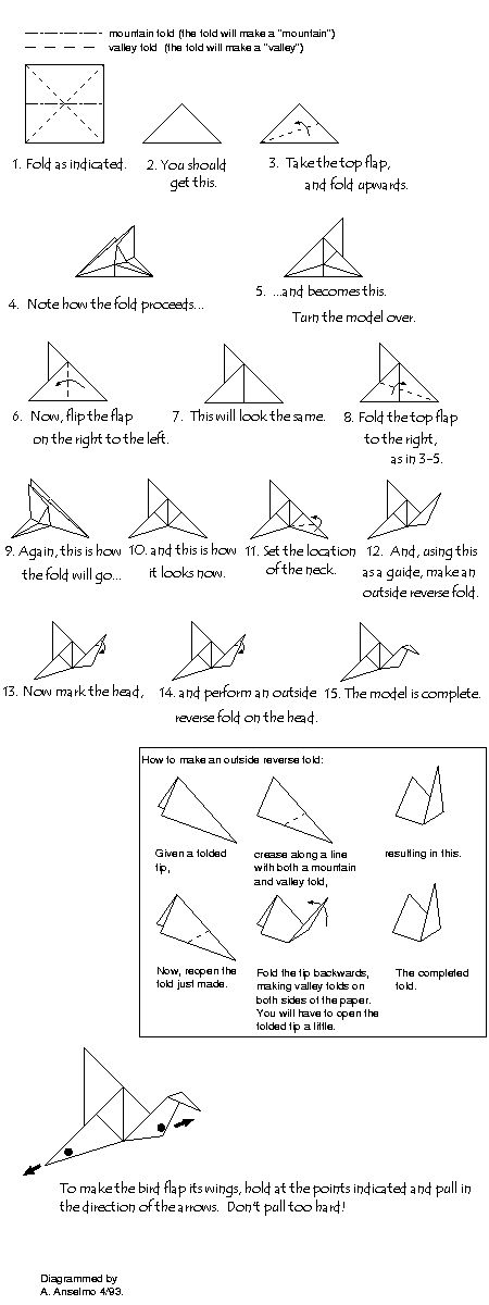 origami flapping bird instructions
