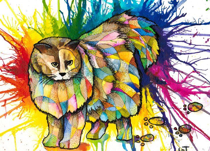 """""""Quilted Cat""""  Visit my Etsy shop: www.sweetpeafineart.etsy.com View my artist website: www.sweetpeafineart.com"""