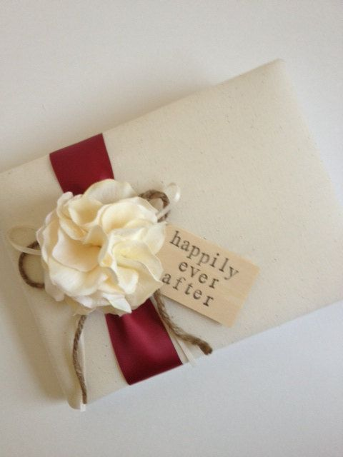 Wedding Guest Book, Ivory Hydrangeas, Burgundy Red Ribbon, Happily Ever After - by CoutureLife