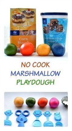 No cook edible playdough recipe: marshmallow playdough #playdoughrecipe #edibleplaydough