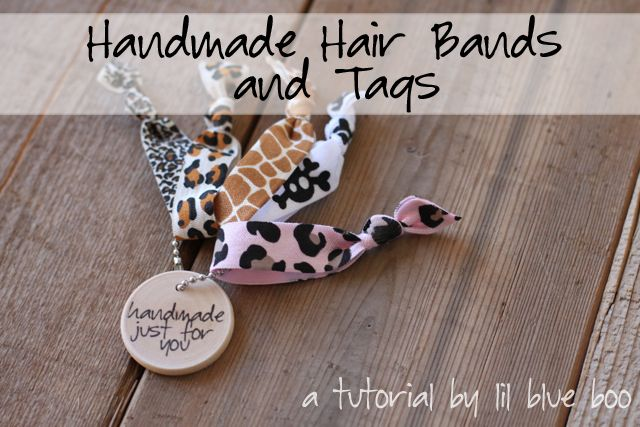 Foldover elastic hair bands: Crafts Ideas, Elastic Hairband, Handmade Tags, Handmade Hairband, Diy Gifts, Diy Hairband, Wood Tags, Gifts Tags, Fabrics Headbands