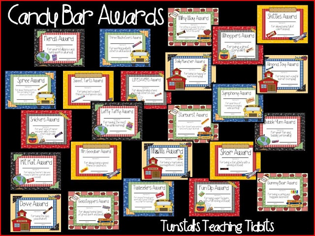Tunstall's Teaching Tidbits: Candy Bar Awards for Elementary Students
