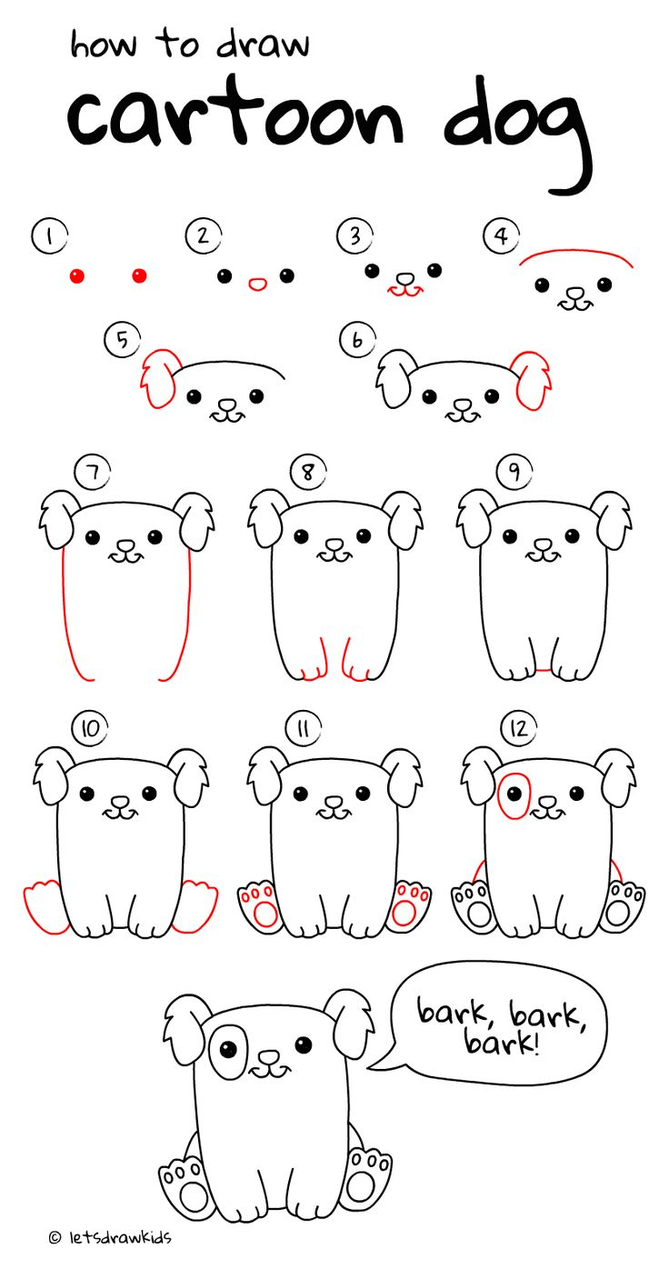 step by step instructions on how to draw a dog