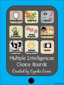 In this unit you will find 8 choice boards. Each board focuses on activities for your students to complete based on each Multiple Intelligence. $