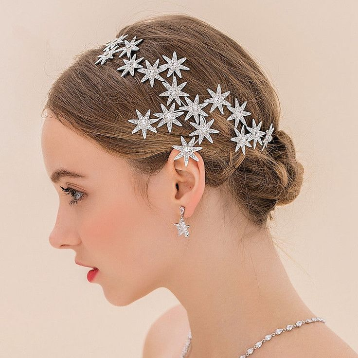 Rhinestones Stars Silver Headdress Sparkly Wedding Decoration Bridal Tiara Crown | eBay