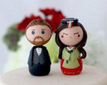 Personnalisé des figurines de gâteau de mariage coréen topper kokeshi