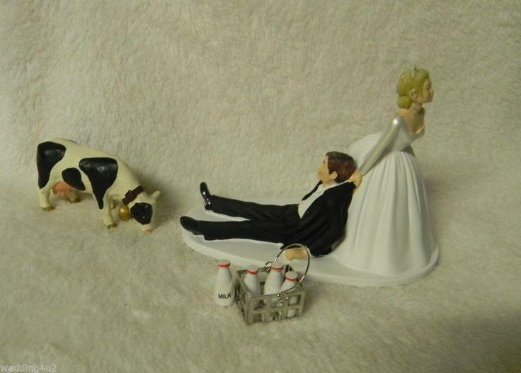 Wedding Dairy Farm Farmer Rancher Milk Crate Holstein Milk Cow Cake Topper #Wedding #FUNNYCakeTopper