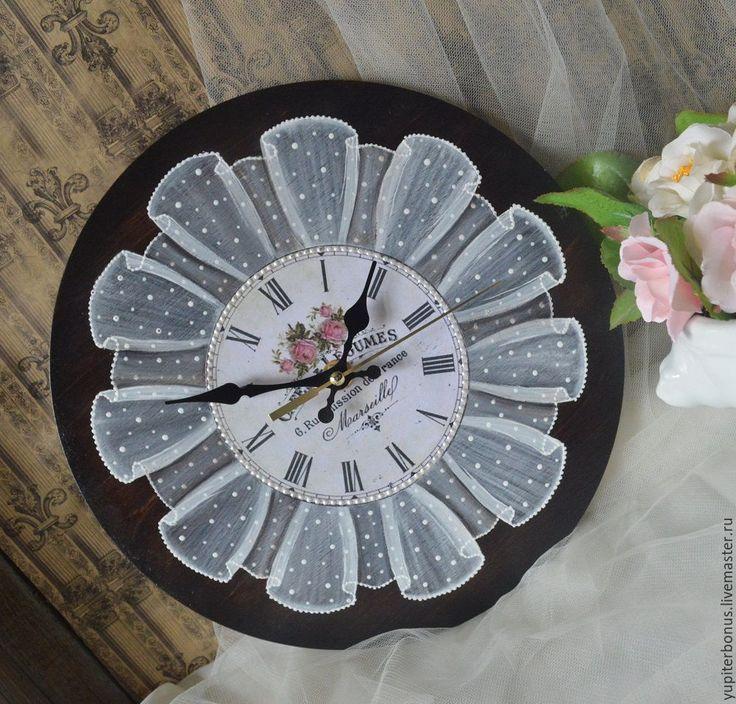 """Купить Часы настенные """"Цветы Марселя"""" - коричневый, часы настенные, часы интерьерные, часы"""