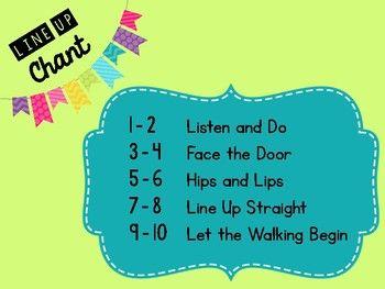 Line Up Chant Classroom FREEBIE