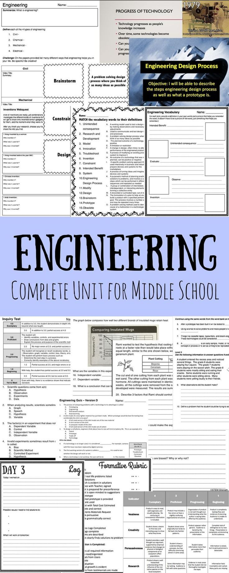 Engineering Full Unit Middle School Science Invention