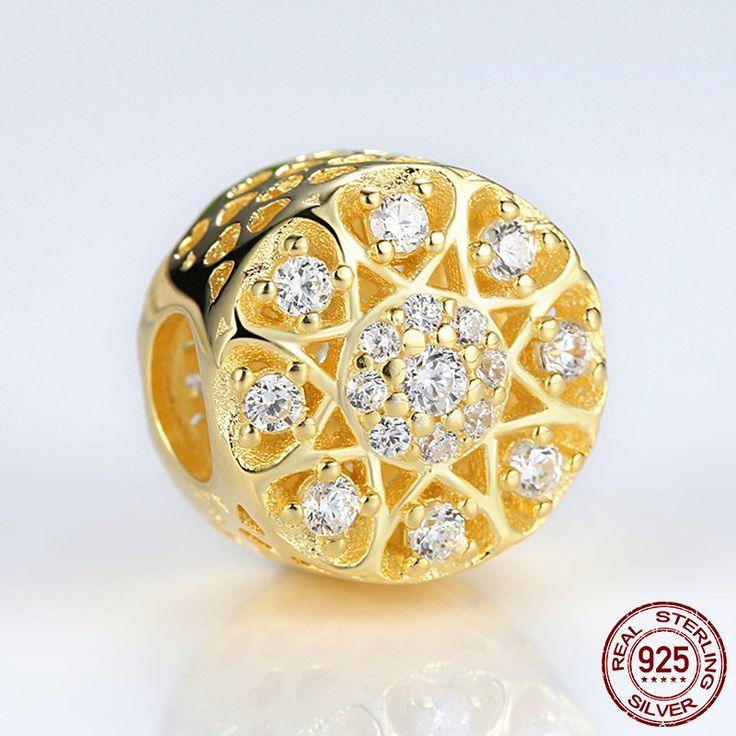 Cuore D'Oro con CZ chiari 925 Sterling Silver & Gold Plated Hearts of Gold Charm adatta Pandora Charm Pandora Bead Bracciale europeo S264 di OceanBijoux su Etsy
