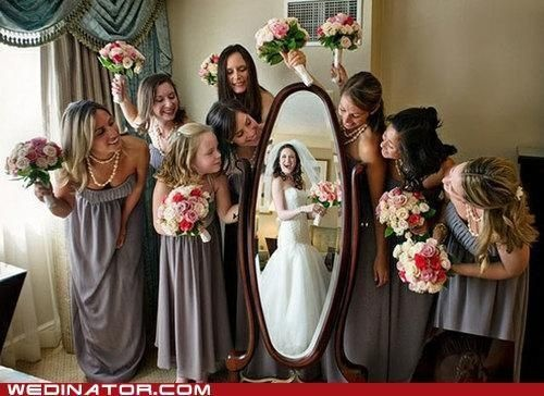 bride and bridesmaid picture.. have brides not looking in the mirror but at the
