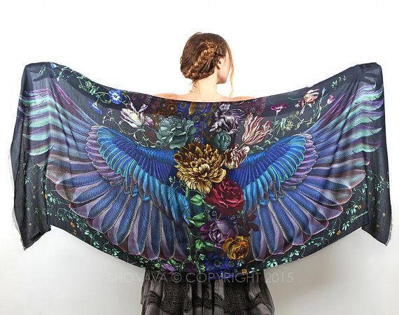 Wings scarf bohemian bird feathers shawl Onyx hand by Shovava