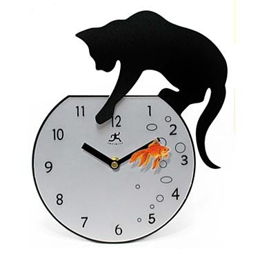 "Stay ""purrfectly"" on time with this silhouette metal and glass cat wall clock. Makes a great gift for any animal lover! $31.49"