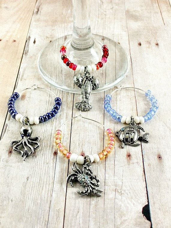 Ocean Wine Charms - Wine Glass Charms - Nautical Wine Charms Set - Drink Tags - Party Favors - Hostess Gift - Wine Accessories - Wine Lover