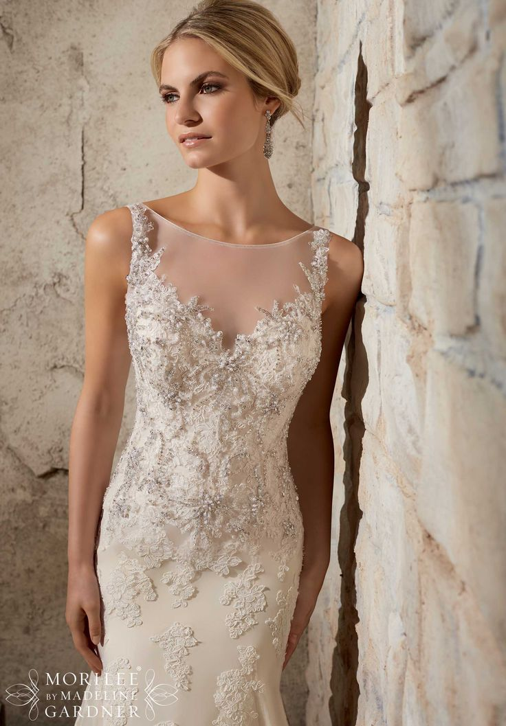 Bridal Gowns / Dresses Style 2709: Crystal Beaded Embroidery and Alencon Lace Appliques on Net- Available in Three Lengths: 55 inches, 58 inches, 61 inches http://www.morilee.com/bridals/bridal/2709