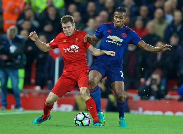 Liverpool 0 Man Utd 0 in Oct 2016 at Anfield. James Milner and Antonio Valencia battle for the ball #Prem