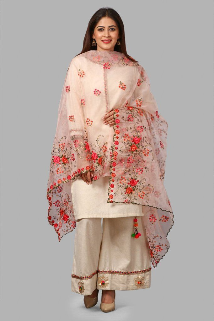 47e7bd2594 Off-White Short Gotta Kurti and Floral Gotta & Pom Pom Palazzo with Organza  Embroidered Dupatta in 2019 | What am I thinking about today !