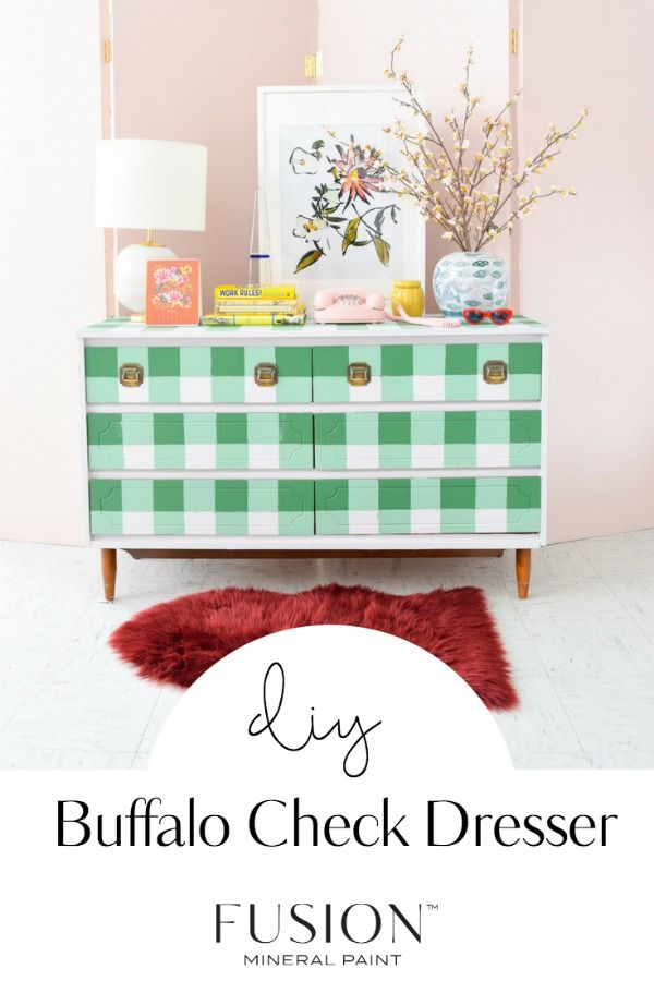 Buffalo Check Dresser Makeover Before And After Lizzy Erin Dresser Makeover Dressers Makeover Repurposed Furniture Diy