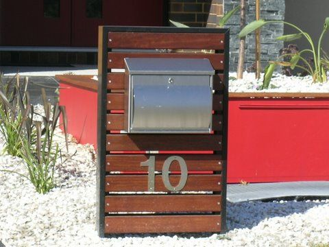 Letterbox timber slate and metal