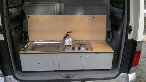 Removable sink and cooker unit built to fit Mazda Bongo camper van
