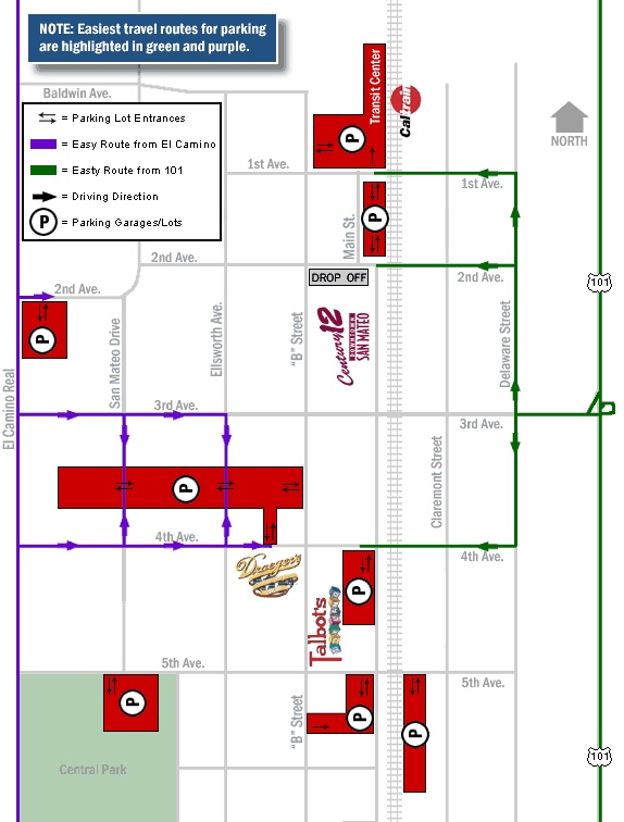 For future reference - Parking map of Downtown San Mateo
