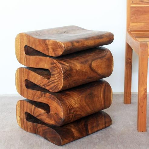 #endtable #woodfurniture Hand carved monkey pod wood end table or stool.  Wave style
