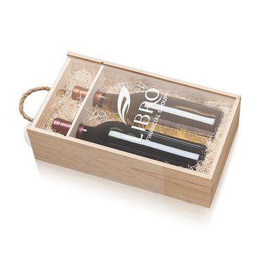Coffret en bois pour 2 bouteilles de vin couvercle coulissant transparant #2514
