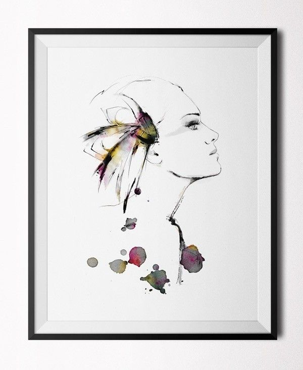 Feather girl - Poster (30x40 cm)