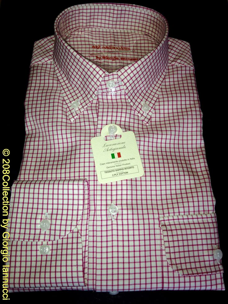"""#208Collection #tailor_made #shirt of 120/2 ply """"Duca 25″#checked #fabric in a soft #red color 100% fine #Cotton with 2 #pockets #buttondown #collar round #cuff entirely #handcrafted #madeinitaly www.208Collection.com info208@Collection.com www.facebook.com/208Collection"""