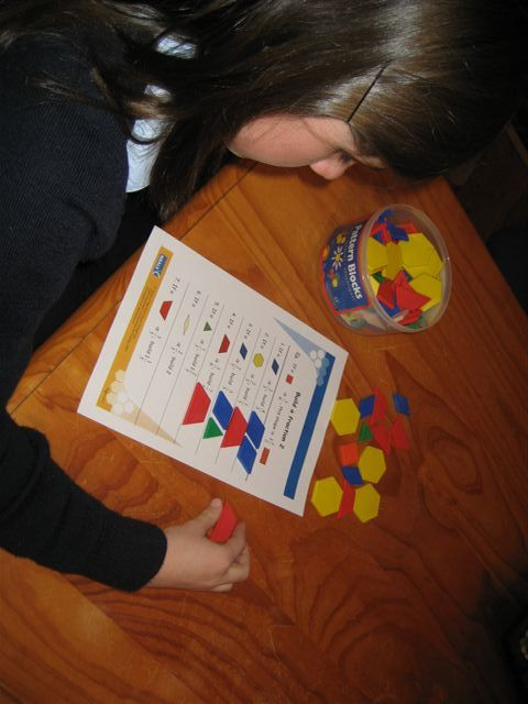 teach fractions with pattern blocks