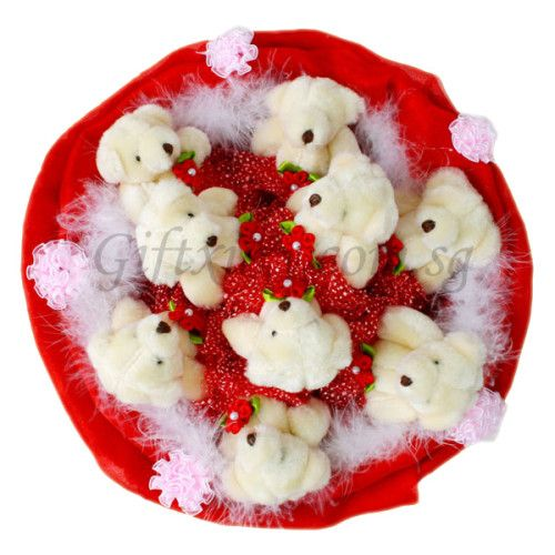 9 Teddy Bears Red Bouquet http://www.giftxury.com.sg/product/9-teddy-bears-red-bouquet/