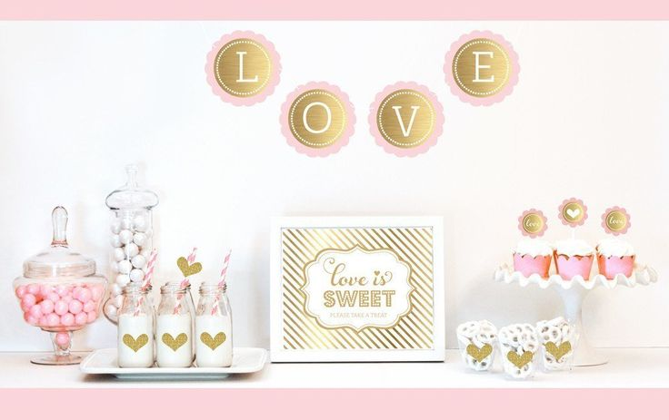 Gold & Glitter Bridal Shower Decor Kit -   - Pink Poppy Party Shoppe - 1