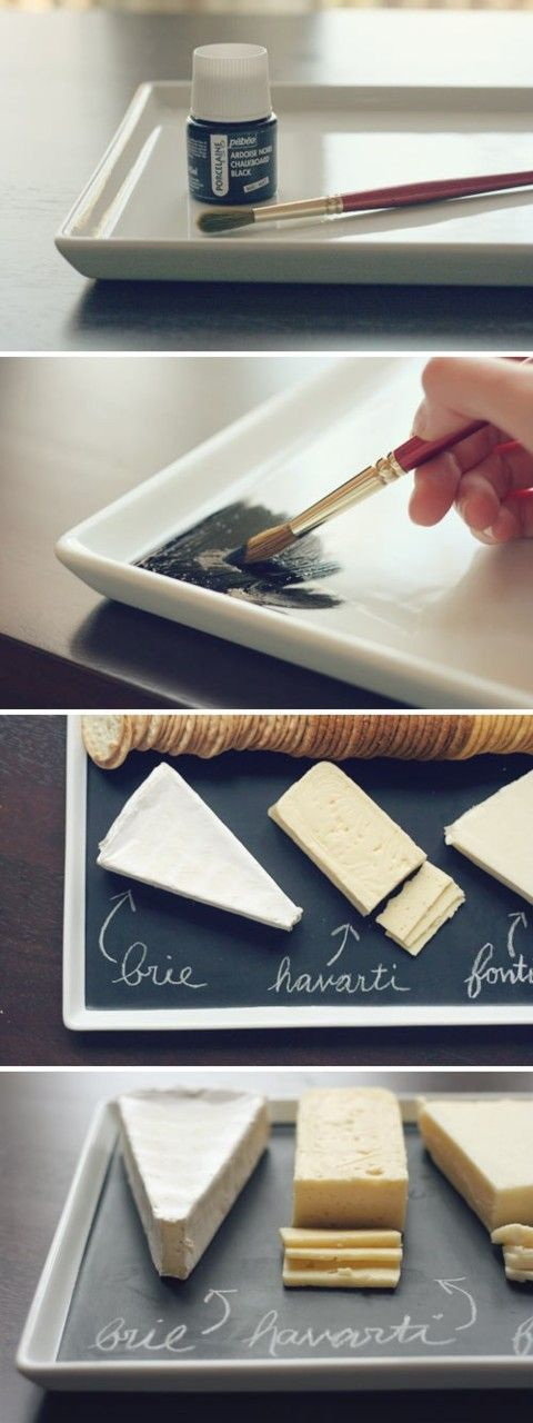 "pr3ciousbb: craftyspice: DIY Chalkboard Serving Platter Using the technique for chalkboard paint on the blog ""attempting aloha"", you can paint trays for snacks in any color of your choice(as long as your chalk color shows up) and title any food. You can also use this technique for table numbers. The best part is, you don't have to buy a tiny jar of ceramic chalkboard paint on Dickblick(art supply site) and ruin any trays. This method can be used on wood and glass. (cheap)"
