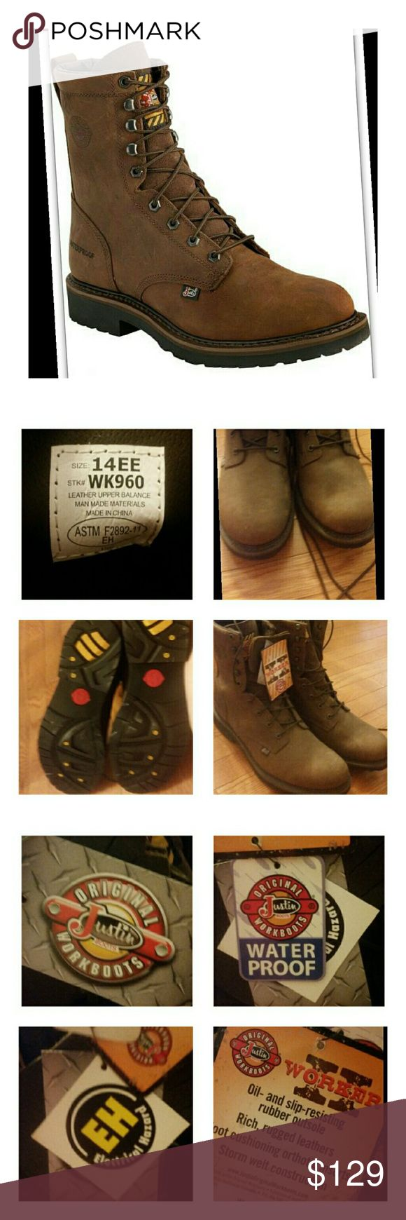 JUSTIN WORK BOOTS! BRAND NEW Size 14EE! See pics for details and material info! Leather boots! Brand New without box! Waterproof! Justin Boots Shoes Boots