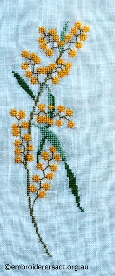 Wattle-motif-from-Vintage-Table-Mat-cross-stitched-by-Avis-Gesling.jpg (700×1678)