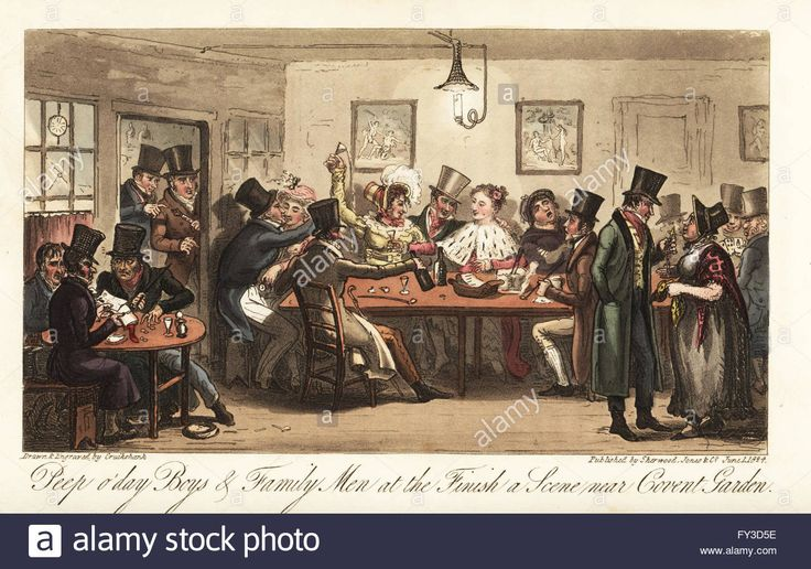 Regency gang members, pimps and prostitutes at the Finish coffee-house, Covent Garden