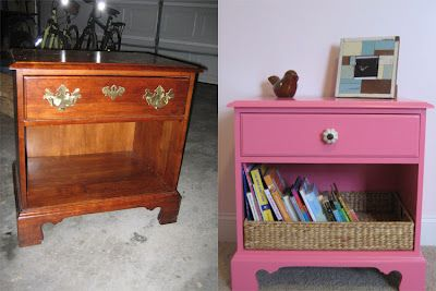 Hot Pink Night Stand Makeover