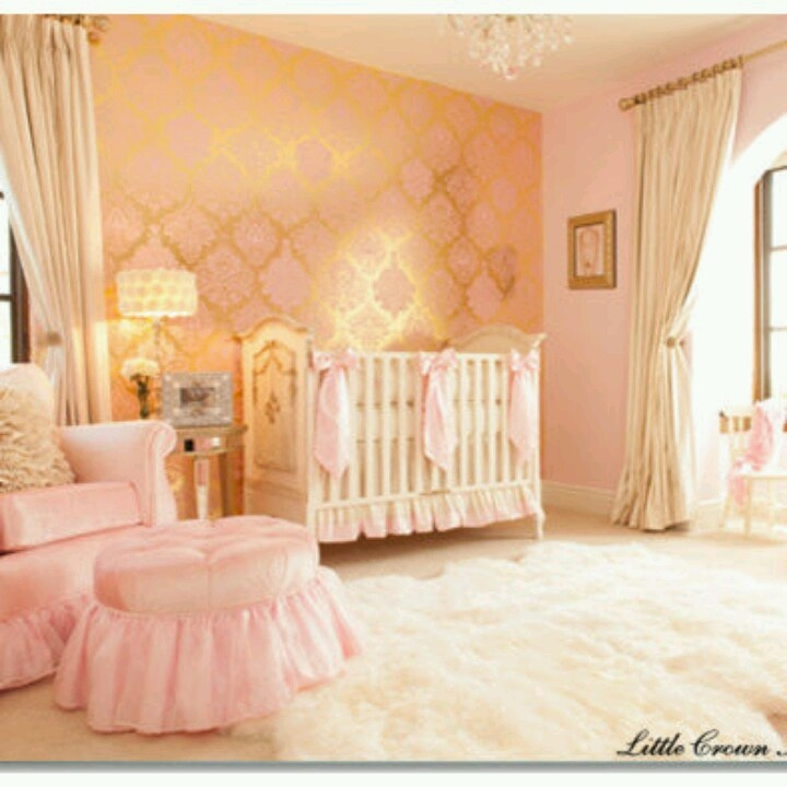 Girls Nursery Coral Accent Wall: Big White Shag Rug With Pink, Gold, Coral Or Black And