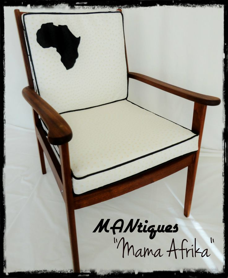 """""""Mama Afrika""""  Is a pair of Solid Teak frames stripped down to bare wood and polished. Seat and Backrest are covered in imported Faux Ostrich hide with sewn in Africa cutout. Seat and back are fully sprung so comfort is first class. Available as a pair of two"""