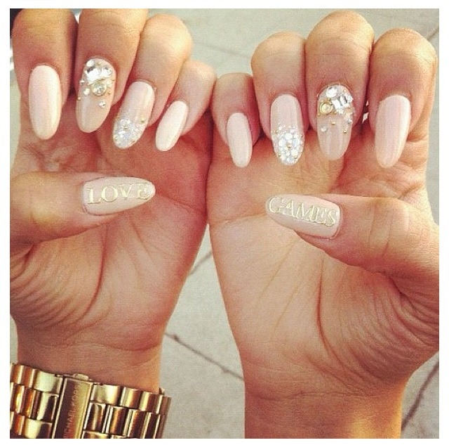 Nude almond shaped nails with rhinestones and gold lettering - 13 Best Nails Images On Pinterest Almond Shape Nails, Make Up